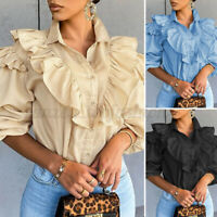 Womens Ruffled Puff Sleeve Victorian Gothic Shirts Casual Party Tunic Top Blouse