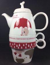 HTF Shinzi Katoh Tea For Two Rain Bear Teapot Two Cups Tea Strainer