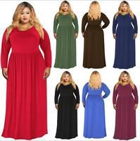 Woman XL-4XL Long Sleeve dress Solid Color Fold Loose Maxi dress 7 Color