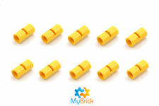 10x Lego Yellow Technic, Pin Connector Round 2L with Slot - 62462