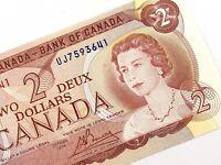 1974 Canada 2 Dollar UJ Prefix Uncirculated Canadian Lawson Bouey Banknote M834