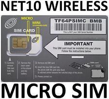 ORIGNAL AT&T DUAL SIM CARD VIA NET10 UNLIMITED SERVICE NOW $35 @ Mo.
