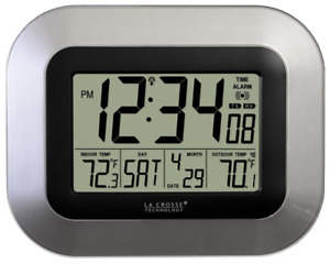 La Crosse Technology Atomic Digital Wall Clock, Indoor and Outdoor Temperature