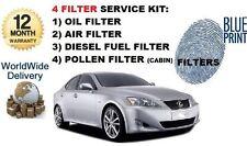 FOR LEXUS IS200D 8/2010-2012 NEW FILTER KIT OIL AIR FUEL POLLEN FILTER (4 ) SET