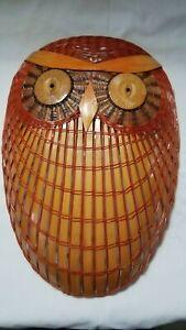 Wicker Rattan Handmade Vintage Owl Bird Basket Wall Facemask