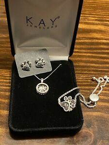 Kay Jewelers Paw Print Jewelry Set ( Earrings,Necklace And Bracelet)