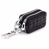 Men's Leather Key Holder Case Key Ring Purse Keychain Women's Zipper Mini Wallet