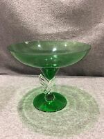 "Czech Crystal Bowl Footed Green Bohemia 10"" Butterfly on Pedestal"