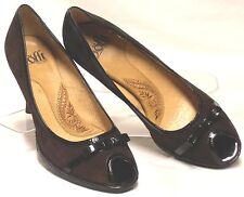 SOFFT Size 7 M Brown Suede Leather Patent Trim High-Heeled Peep-Toe Dress Pumps