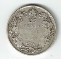 CANADA 1936 BAR VARIETY TWENTY FIVE CENTS QUARTER KING GEORGE V .800 SILVER COIN