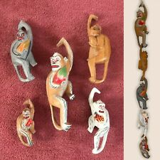 Set of 5 Wooden Hanging Monkeys, Colourful Monkey Chain Mobile, Vintage 1980's