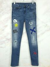 True Religion Boys Rocco Skinny Patched Distressed Jeans Size 16 (28x29) VGUC