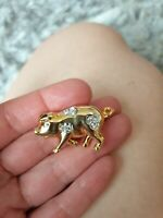 Vintage Pig Brooch. Gold Tone. Clear Stones.