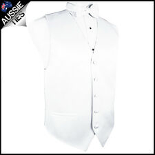 "MENS WHITE WAISTCOAT WITH MATCHING BOW TIE CHOOSE SIZE (32-60"" chest) vest"