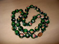Vintage Chinese Cloisonne Florals Necklace Gold Trim Individually Knotted