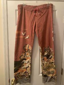 Paparazzi By Biz Brand Lucky Asian Flare Lounge Pants Sweatpants L Floral Crane