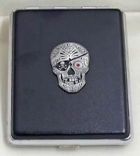 100 mm Black Leather 20pcs Cigarette Case/ID Holder - Sugar Skull Pirate