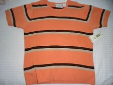 NEW Woman's size Medium Short Sleeve Orange and Brown Striped Crew Neck Sweater