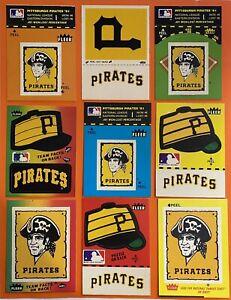 Vintage 1980's PITTSBURGH PIRATES Fleer Team Baseball Sticker Lot of 9 Different