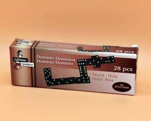 Dominosteine 28 teiliges Domino Spiel Dominoset Steine aus Holz in Schwarz