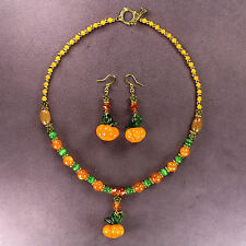3D PUMPKIN NECKLACE EARRINGS Lampwork Gold Thanksgiving Autumn Gourd Beads Fall
