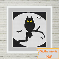 Halloween moon Owl with yellow eyes on a branch cross stitch pattern dmc cxc pdf