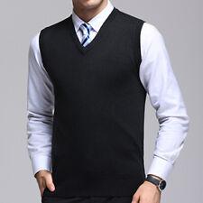 Men Knitted Waistcoats Sweater Sleeveless Vest V Neck Pullover Business Tops Hot