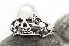 GENUINE 925 STERLING SILVER SKULL ring - gothic, punk, rock, biker 56mm - O 1/2
