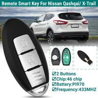 2 Button Remote Smart Key Fob Case For NISSAN Qashqai X-Trail 433MHZ