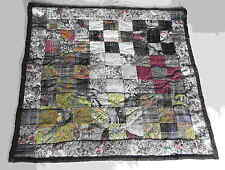 Hand Quilted Wall Hanging TAPESTRY Style Floral Browns Tans 35x34 hanger FREE SH