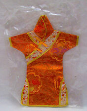 Oriential  Japanese Geisha Doll Silk Kimono Dress New in Sealed Package Orange