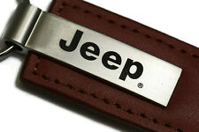Jeep Brown Leather Authentic Logo Key Ring Fob Keychain Lanyard