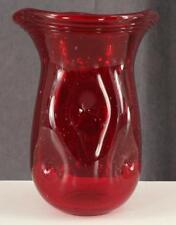 Custom Artisan Art Glass MARGIES GARDEN Westlake Village Ruby Red Flower Vase