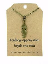 Feathers Appear When Angels Are Near Message Card Bronze Necklace New Memory