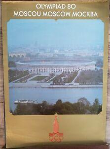 VINTAGE POSTER~Moscow Mockba Moscou Russia Luzhniki Stadium 1980 Olympics Rare~
