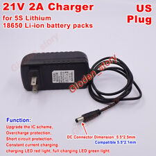 US AC/DC 21V 2A Charger Adapter for 5S 18650 Li-ion  Lithium Battery Packs