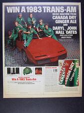1983 Hall & Oates Pontiac Trans-Am Convertible photo Canada Dry vintage print Ad