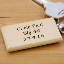 Personalised Wooden Keyring - Birthday gifts, Wooden key Rings, Engraved keyring