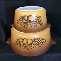 Vintage Set of 2 Nesting Pyrex Casserole Dishes Old Orchard Brown 473 474 VGUC
