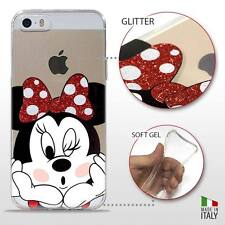 IPHONE 5/5S/SE COVER PROTETTIVA GEL TRASPARENTE GLITTER DISNEY MINNIE MOUSE