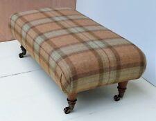 New Large Footstool 100% Wool Moon Tartan. Choose the Legs, Fabrics & Sizes!!!!