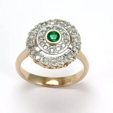 RUSSIAN JEWELRY Diamond & Emerald Ring 14k Rose Gold #R685