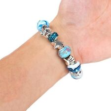 Women Ocean Starfish Sea Star Conch Shell Pearl Beach Chain Bracelet Anklet Blue