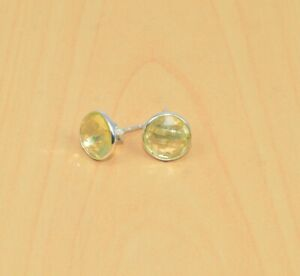 925 Solid Sterling Silver Natural Cut Yellow Citrine Stud Earring W06543 n710