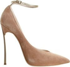 $1050 CASADEI 10 (9.5) Metal Blade Spike Heel Beige Tan Suede Shoes Ankle Strap