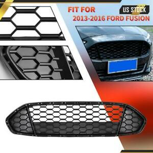 For Ford Fusion 2013-2016 Front Upper Grille Grill Honeycomb Mesh Matte Black
