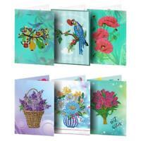 6pcs 5D DIY Special-shaped Diamond Painting Birthday Greeting Cards Gift R1BO