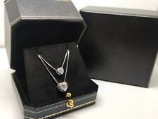 White gold finish double heart created diamond pendant necklace valentines gift