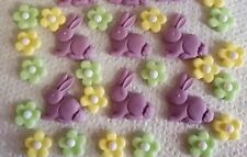 42 LILAC EDIBLE BUNNIES AND BLOSSOM Easter Cake topper decoration sugar