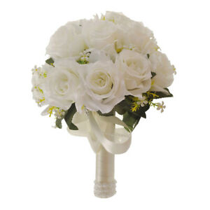 Artificial Rose Flowers Bride Bouquet Party Wedding Pearls Hand Flower